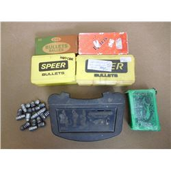 ASSORTED LOT OF BULLETS INCL.  SIERRA .243, .25 CAL, SPEER .30 AND .44 CAL AND ASSORTED LEAD.