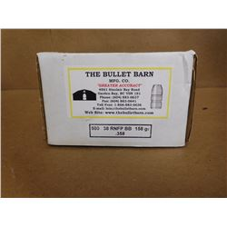 THE BULLET BARN MFG. .38 RNFP BB 158 GR .358 LEAD BULLETS