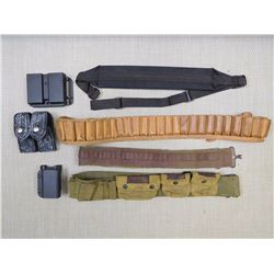 ASSORTED AMMO BELTS/SLINGS & HOLSTER