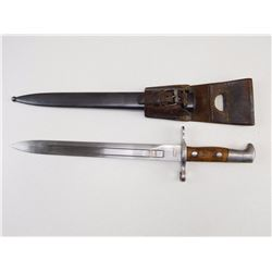 SWISS BAYONET WITH LEATHER FRON AND SCABBARD