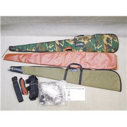 ASSORTED SOFT RIFLE CASES , BODY HARNESS, AND STRAPS