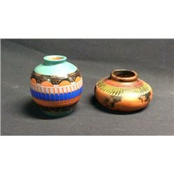 Two Small Carved & Horse Hair Navajo Pots