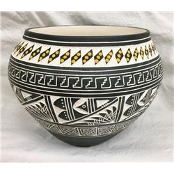 Acoma Carved & Painted Pot By R.n Sanchez