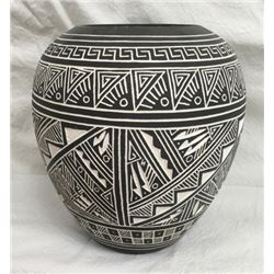 Carved Acoma Black & White Pot By Rn Sanchez