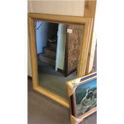 Large Beveled Mirror in Wood Frame