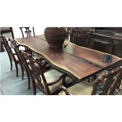 Century Acicia Wood Slab Table with Cast Iron