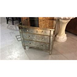 Century Antiqued Mirrored 3 Drawer Chest