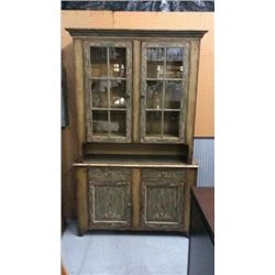 Ardley Hall Hand Painted Antiqued Hutch and Buffet
