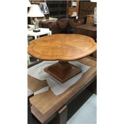 Century Oak Cocktail Table with Fancy Inlaid Top