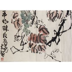 Chinese Watercolour Paper Scroll Signed by Artist
