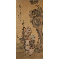 Ding Guanpeng ?-1771 Chinese Watercolour Scroll