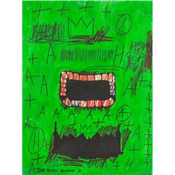 Jean-Michel Basquiat 1960-1985 Mixed Media Face
