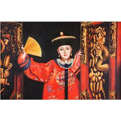 Chan Chinese Oil on Canvas Qing Subject with Robe