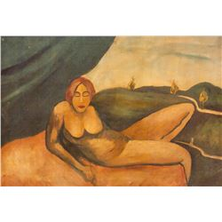 Jandi David 1893-1944 Hungarian Oil Board Nude
