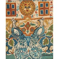 Natalia Goncharova 1881-1962 Russian Oil Peacocks