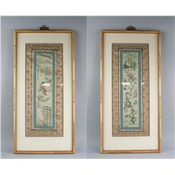 Pair of Chinese Embroidery Panels under Glass
