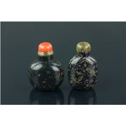 2 Pc Chinese Agate Snuff Bottles