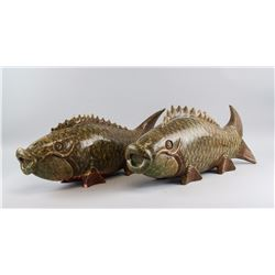 Pair of Chinese Large Stone Carved Carp Statue