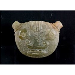 Chinese Green Jade Carved Archaistic Face Pendant