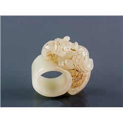 Chinese Hetian White Jade Beast Archer's Ring
