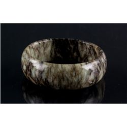 Chinese Green and Brown Jade Carved Wide Bangle