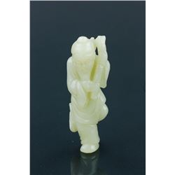 Chinese Jade Carved Figure Holding Bamboo