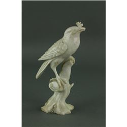 Chinese Milky White Hetian Jade Carved Bird Figure
