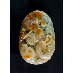 Burma Green and Brown Jadeite Carved Fish Pedant