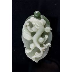 Burma Green Jadeite Carved Dragon Pendant