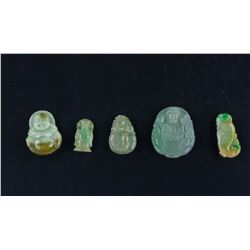 5 PC Assorted Chinese Jadeite & Hardstone Pendants