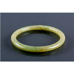 Burma Brownish Green Jadeite Carved Thin Bangle