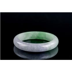 Burma Green and Lavender Jadeite Carved Bangle