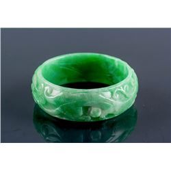 Burma Green Jadeite Carved Dragon Bangle