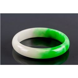 Burma Mixed White and Green Jadeite Carved Bangle