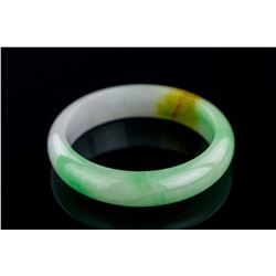 Burma Two Colour Jadeite Carved Bangle