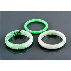 3 PC Assorted Burma Green Jadeite Carved Bangle