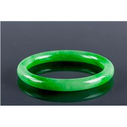 Superb Burma Green Jadeite Carved Bangle