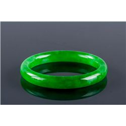 Rare Burma Green Jadeite Carved Bangle