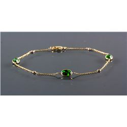 Natural Chrome Diopside & 0.12ct Diamond Bracelet