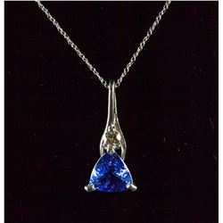 1.8ct Tanzanite &0.11ct Diamond Pendant Necklace