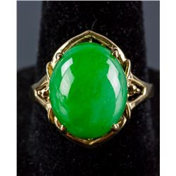 18k Yellow Gold Green Jadeite Ring