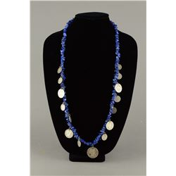 Lapis Lazuli Necklace w Silver Coins Dated 1901