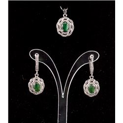 Emerald & Cubic Zirconia Pendant & Earrings RV$500