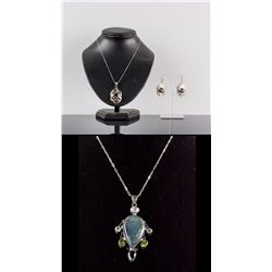 Set of Topaz Jewellery Set & 925 Silver Pendant