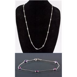 Set of Mutli-Gemstone Necklace & Sapphire Bracelet