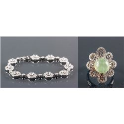 Set of Prasiolite Ring & Crystal Bracelet