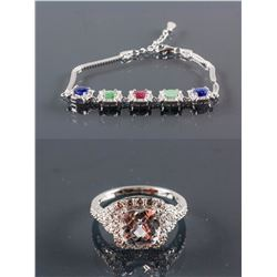 Set of Zirconia Ring & Multi-Gemstone Bracelet