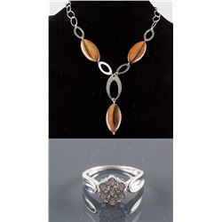 Set of Diamond Ring & Silver Drop Necklace