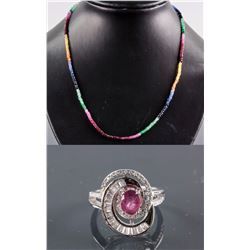 Set of Ruby Ring & Multi-Gem Necklace