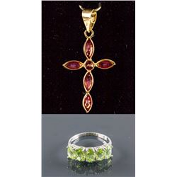 Set of Peridot Ring & Ruby Cross Pendant